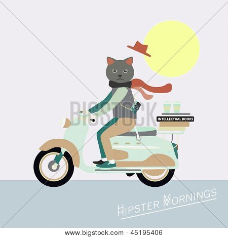 Fashionable Hipster cat on a vintage scooter - illustration