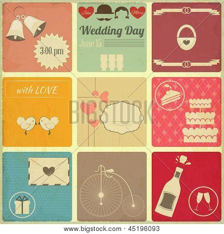 Wedding Set Of Retro Cards