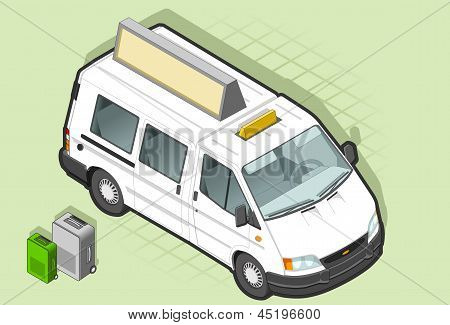 Isometric White Taxi Van With Some Bags in front view