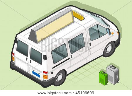 Isometric White Taxi Van With Some Bags in rear view