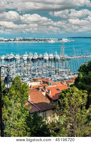 Panoramic View Of Le Suquet- The Old Town,  Port Le Vieux And La Croisette Of Cannes, France