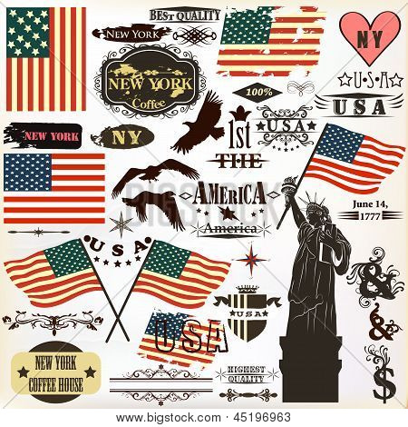 Collection Of Vintage Elements Usa Symbols For 14 June And 4 July Design