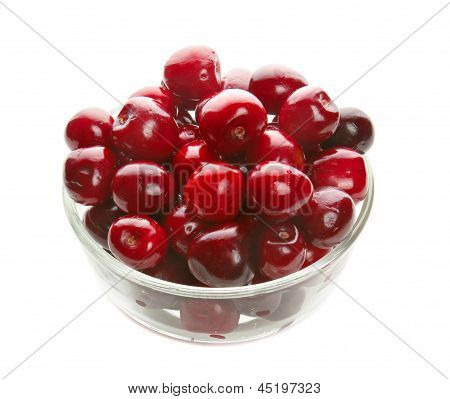 Sweet cherries in glass ware