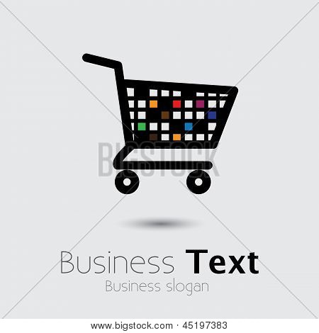 Abstracto colorido Shopping Cart icono o símbolo - Vector Graphic