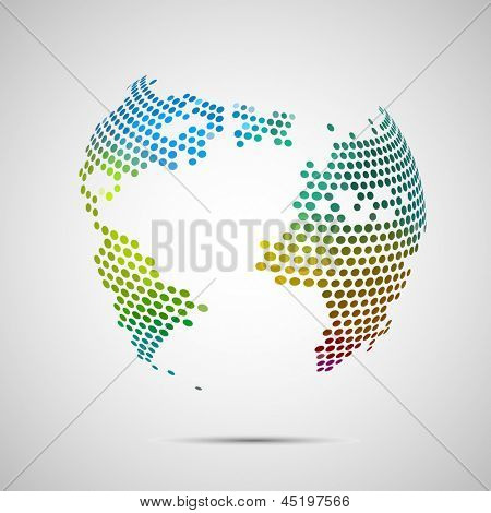 Abstract colorful world globe, vector illustration