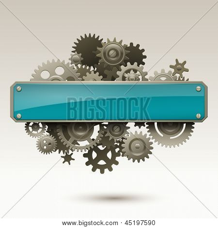 Blank sign with gears, eps10 vector