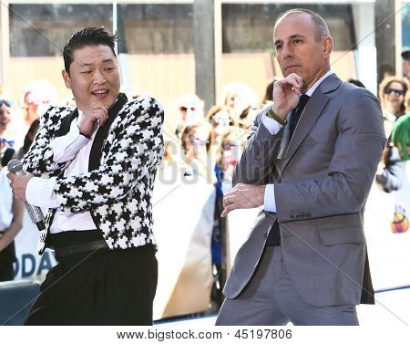 NEW YORK-MAY 3: Korean rapper Psy and Matt Lauer perform on the Today Show at Rockefeller Plaza on May 3, 2013 in New York City.
