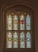 stock photo of stained glass  - A photography of a colourful church window - JPG