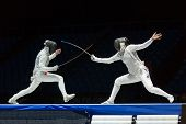 MOSCOW - APR 6: Interesting fight on championship of world in fencing among juniors and cadets, in S