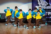 MOSCOW - APR 1: On stage band, called  Abzatz Crew on Hip Hop International - Cup of Russia 2012 in