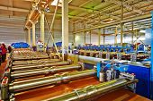 LOBNYA - JUN 7: Automated line for production of metal roofing tile in manufacturing workshop at pla