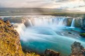 image of midnight  - Godafoss is a very beautiful Icelandic waterfall - JPG
