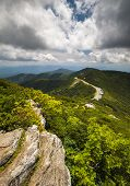 stock photo of asheville  - Blue Ridge Parkway Craggy Gardens Asheville NC Craggy Pinnacle travel destination curvy mountain road scenic view - JPG