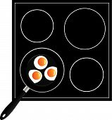 Cooking Eggs On The Pan In Vector poster