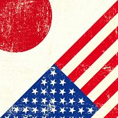 USA and japanese grunge Flag. this flag represents the relationship  between Japan and the USA