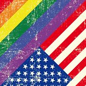 stock photo of gay wedding  - Mixed grunge gay flag with American flag - JPG