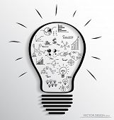 foto of lightbulb  - Light bulb with elements of infographics and graph - JPG