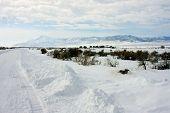 foto of promontory  - Promontory Summit Utah in the winter snow  - JPG