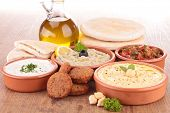 stock photo of dipping  - falafel with dips and bread - JPG