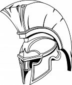 stock photo of spartan  - An illustration of Spartan roman greek trojan or gladiator helmet with plume - JPG