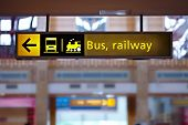 stock photo of railroad-sign  - Bus and railway station sign - JPG