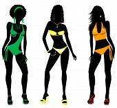 picture of monokini  - Vector Illustration of three different swimsuit silhouette women in bikini - JPG