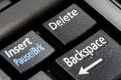 picture of backspace  - Black delete key on a laptop keyboard - JPG