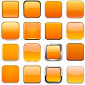 Set of blank orange square buttons for website or app. Vector eps10.