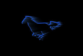 stock photo of running horse  - Silhouette of a running horse over black background - JPG