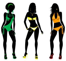 foto of monokini  - Vector Illustration of three different swimsuit silhouette women in bikini - JPG