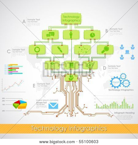 illustration of technology infographics with electronic chip tree