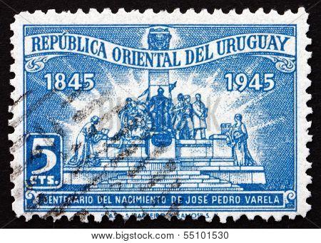 Postage Stamp Uruguay 1945 Jose Pedro Varela, Author