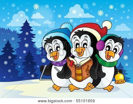 Christmas penguins theme image 2 - eps10 vector illustration.
