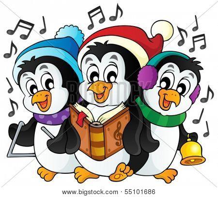 Christmas penguins theme image 1 - eps10 vector illustration.