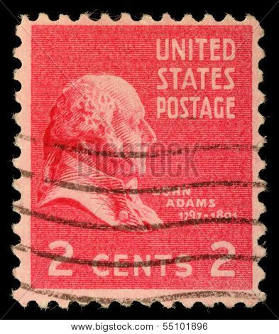 USA - CIRCA 1938: Postage stamps printed in USA, shows President of the United States, John Adams, circa 1938
