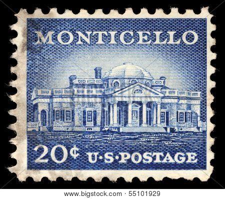 USA - CIRCA 1956: A Stamp printed in USA shows Monticello, the estate of Thomas Jefferson, 200th Anniversary, circa 1956