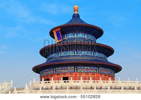 Temple of Heaven with blue sky in Beijing
