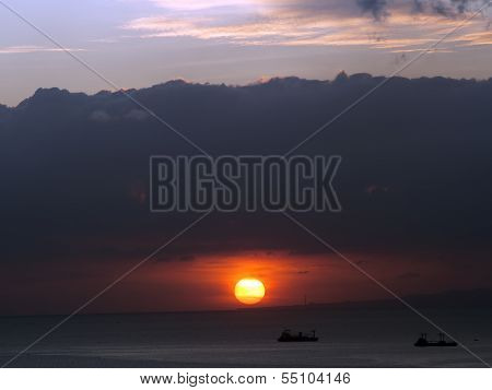 ships and the sunset
