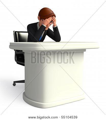young business man suffering headache