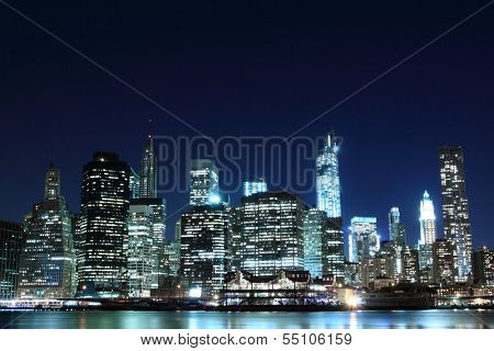 Manhattan skyline at Night Lights, New York City