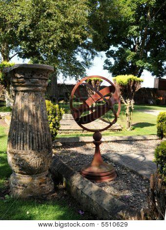 Sundial In Garden With Pedestal