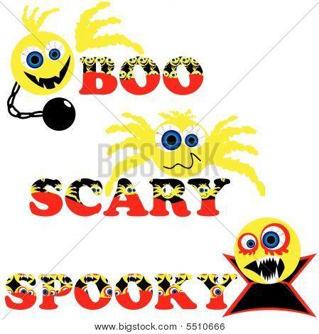 Três emoticons de Halloween assustador com texto