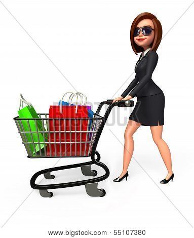 Young Business Woman with shopping bags and trolley