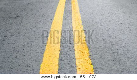 Double Yellow Line On Pavement