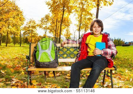 10 Years Old Boy With Backpack