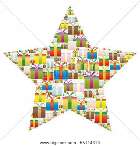 Gift Boxes In A Christmas Star