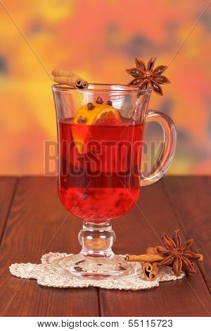 Glass of mulled wine on napkin