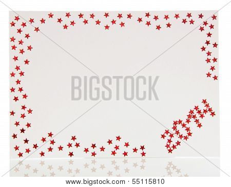 Christmas card decorated with red stars