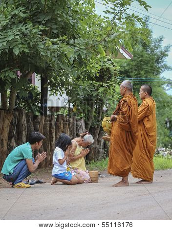 Loei Province , Thailand - July 18: Every Day Very Early In The Morning, Thai People Donated Food To