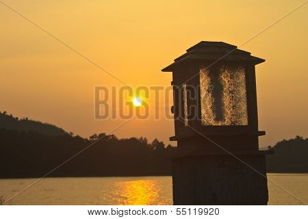 Lighting Pole And Sunset At Camping Ground